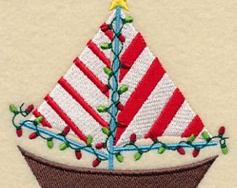 Embroidered Sailboat Towel -Christmas Towel - Flour Sack Towel - Embroidered Hand Towel - Embroidered Bath Towel / Embroidered Apron