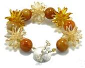 Golden Agate and Beadwork Bead Bracelet - Gold Light