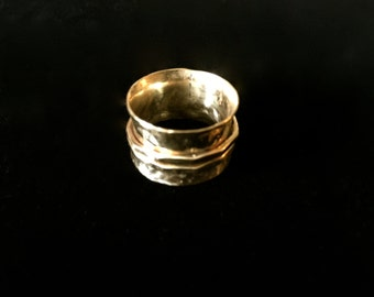 OOAK Spinner Ring of Hammered Solid Brass with Two Decorative Spinners size 7 1/2