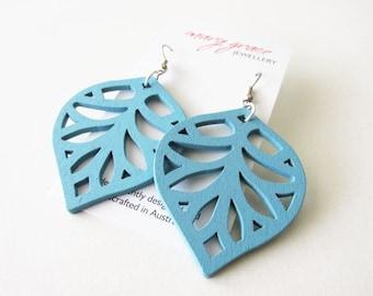 Light Weight Aqua Blue Wooden Leaf Earrings | Hippie Style Lightweight Earrings | Casual Everyday Wear | Stainless Steel Hooks