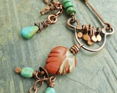 Southwest Leaf Pendant with Red Jasper Turquoise and Copper Metalwork