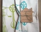Tea Towels/Handmade/Hand-Printed Tea Towels/2  pack/Egg Beater Motif/Aqua and chartreuse/Maine Made/fair trade/FREE SHIPPING