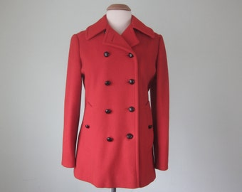 cherry red macintosh wool peacoat double breasted button coat (m - l)