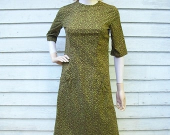 SALE 50s Cotton Day Dress size Small Extra Small Dixie Debs Wiggle Dress