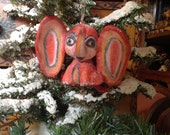 Pink Elephant Christmas ornament  Folk Art paper clay cute elephant ornament