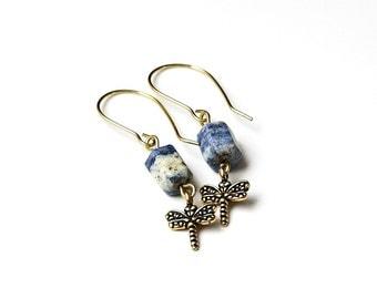 Blue Stone Earrings, Natural Lapis Stone Earrings, Dragonfly Earrings,  Blue Lapis Lazuli Earrings, Natural Stone Jewelry