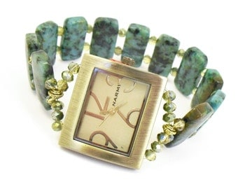 Beaded Bracelet Watch - Bold African Turquoise Stretchy Watch with Topaz Bronze Crystal Glass Accents