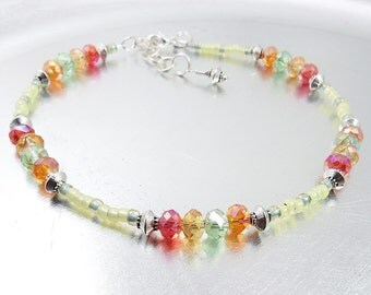 Beaded Ankle Bracelet - Yellow Opal and Colorful Red, Topaz, Green and Orange Crystal Glass Anklet