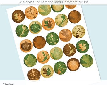 "Fall Autumn Leaves Pumpkin 1 inch 1.25"" and 1.5"" Circles Collage Sheet for Glass and   Resin Pendants Bottle Caps Digital Download JPG"