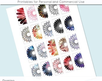 Flowers in Watercolors 1x2 Domino Collage Sheet Digital Images for Domino Pendants Magnets Scrapbooking Journaling JPG D0043