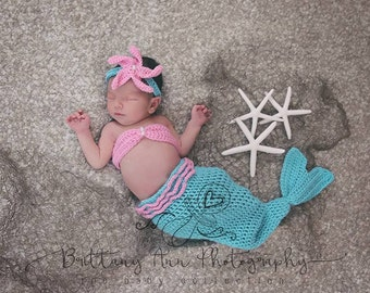 On Sale Turquoise and Pink Newborn Girl Mermaid Set, 0 to 3 month baby girl Mermaid Photo Prop