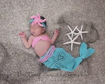 Turquoise and Pink 0 to 3 month Mermaid Costume Set, Newborn baby girl Mermaid Photo Prop
