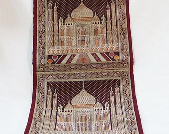 Tapestry fabric wall hanging with pocket letters holder embroidery of taj mahal
