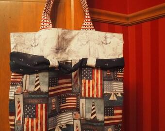 Patriotic Americana Nautical Tote Bag