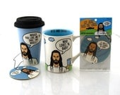 Jesus Travel Mug, extra large mug, and air freshener combo, all three items birthday special with reduced costs inspirational gifts