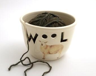 yarn bowl , wool , knitting bowl , gift for knitter , crochet , wool knitting supplies , handmade yarn bowl with word cutout , sheep