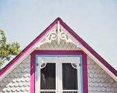 Martha's Vineyard Rustic Cottage Photography, Bright Pink and Blue, Seaside Cottage Photograph, Charming Whimsical Architecture, Rustic Art