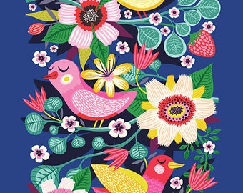 Three Little Birds... - limited edition giclee print of an original illustration (8 x 10 in)