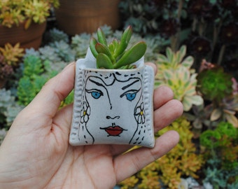 ceramic wall pocket miniature wall vase garden decor flower herb holder