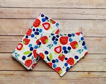 Berries baby bandana bib and burp cloth set