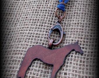 "Rustic Metal Quarter Horse on Silk  Necklace 27"""