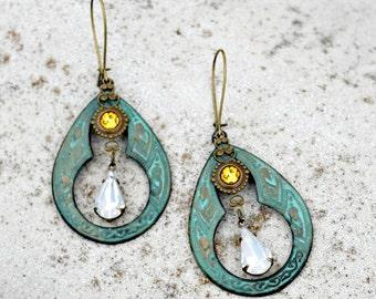 Verdigris Chandelier Earrings -  Bohemian, Vintage Jewel, Silk Road, Sunflower Yellow, Hippie Earrings