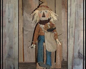 Primitive hand embroidered applique'd rustic folk art scarecrow weed sack handmade crow HAFAIR ofg haguild faap