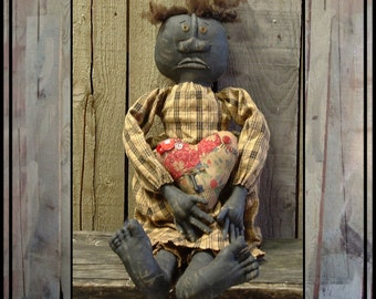 instant download digital pattern Primitive Folk Art black soft sculpted doll HAFAIR OFG faap 355