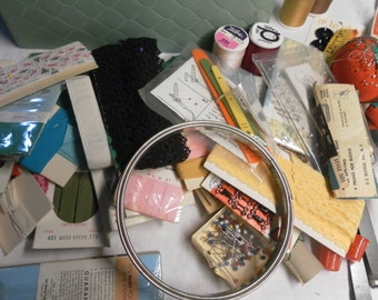 Vintage Sewing Box and Supplies!