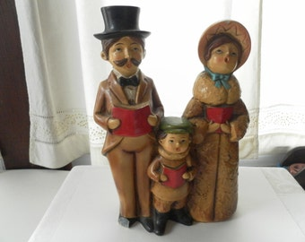 Trio of Musical Christmas Carolers Vintage Made in Japan 1970s