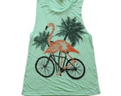 flamingo on a bike ladies muscle tank top NEW RELEASE