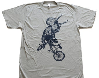 Triceratops on a BICYCLE silver grey T-Shirt