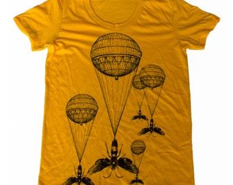 Womens Steampunk INSECT hot air balloon T Shirt american apparel S M L Xl (Gold)