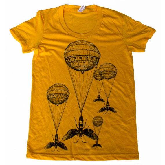 Womens Steampunk INSECT hot air balloon T Shirt S M L Xl (Gold)