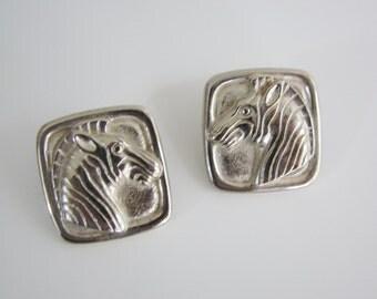 Vintage silver zebra earrings (B2)