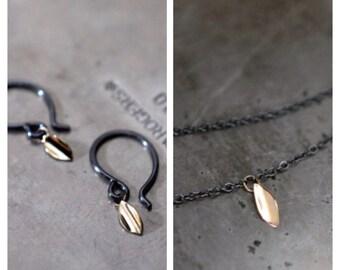 Custom/RESERVED Listing - Gold Leaf…petite 14k gold