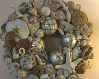 Nautical Vintage Ornament Wreath Featuring Mercury Bulbs as Fish Floats, Shells, Sand Dollars, Sea Horses