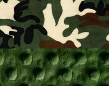 Minky Mini Baby Blanket,  Personalized Camo Hunter Green Camouflage Lovey