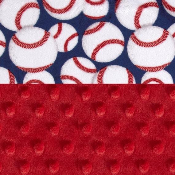 Minky Mini Baby Blanket Boy,  Blue Red Baseball Personalized Baby Blanket - Baseball Lovey or Tag Blanket or Minky Burp Cloth