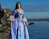 Pale blue satin and Periwinkle blue silk Marie Antoinette Victorian inspired rococo costume dress