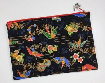 SALE - Origami Crane Zipper Pouch / iPad mini Case / Clutch Bag