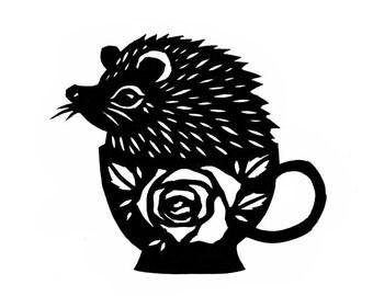 Hedgie In A Teacup - Cut Paper Art Print
