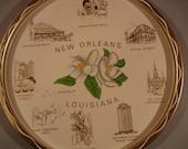 Vintage Metal New Orleans Serving Tray/ White Magnolias/ Famous Landmarks/ Louisiana  Souvenir/Serving/ Wall Decor
