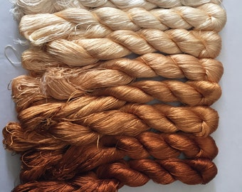 8 skeins Chinese natural mulberry silk embroidery threads floss 440m per skein 46#