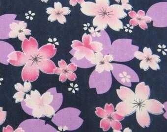 2658D -- Japanese Cherry Blossoms in Navy, Sakura Fabric, Spring Flower, Flower Fabric