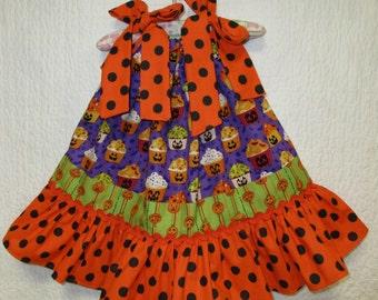 Girls Halloween Dress 12M/18M Halloween Cupcakes Orange Purple Green Boutique Pillowcase Dress, Pillow Case Dress, Sundress