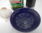 Cobalt Blue Garlic Grater Oil dipping dish