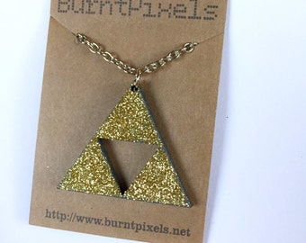 Zelda glitter Triforce necklace