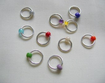 Rainbow Snag Free Stitch Markers - set D