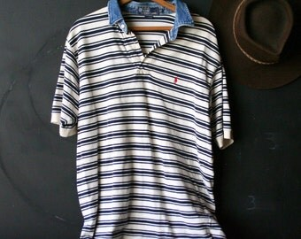 Vintage Polo Shirt Mens Knit With Denim Collar Black And White Stripes Fabric Vintage From Nowvintage on Esty